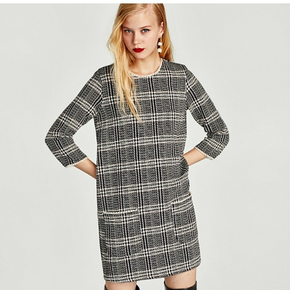 d30d8e7127 NEW Zara tweed dress with patch pocket